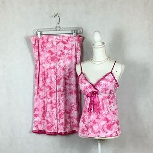 Sz M Jennifer Moore Pink Tied Dye Pajama Set